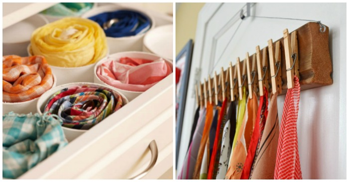 a23d73b5f0353 15 Super Simple Ways to Organize Scarves