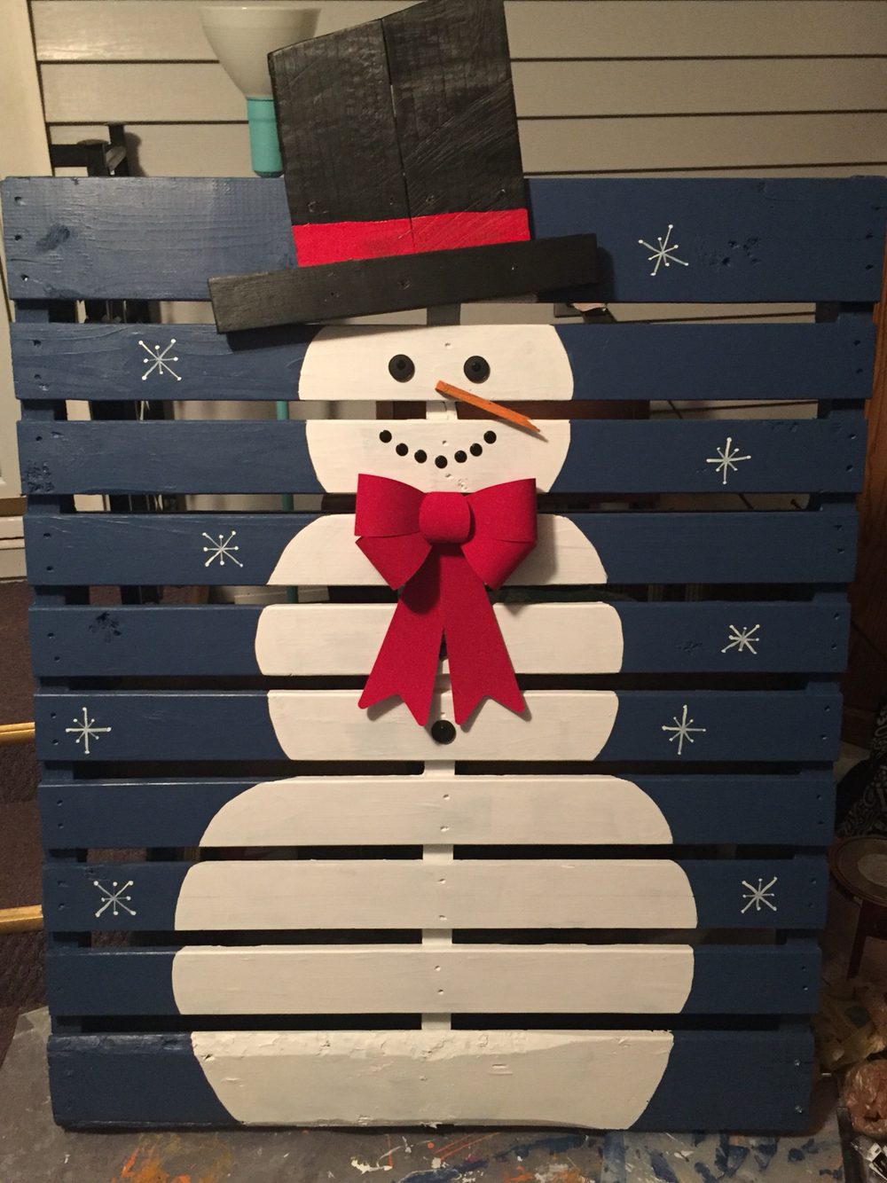 snowman pallet - Pallet Christmas Decoration Ideas