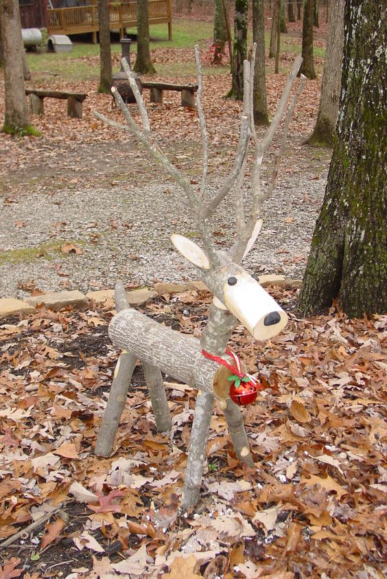 and speaking of logs these santa logs are incredibly easy too just pull a few logs from the wood pile cut one end at a diagonal and paint the santa - Christmas Deer Yard Decorations