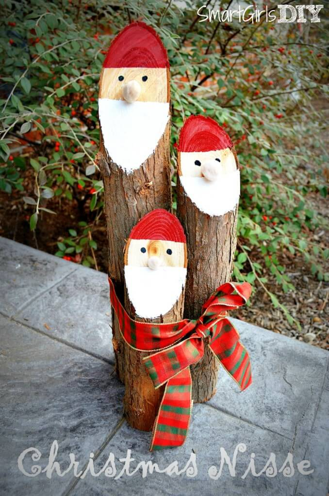 santa logs - Wooden Christmas Lawn Decorations