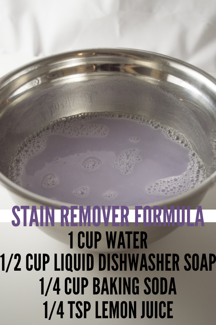 Stain remover concoction to apply on clothes before putting them through the washing machine.