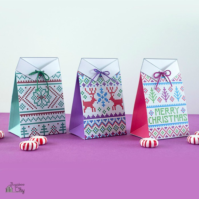 Christmas Gift Box Template.16 Free Printable Gift Boxes For Last Minute Wrappers