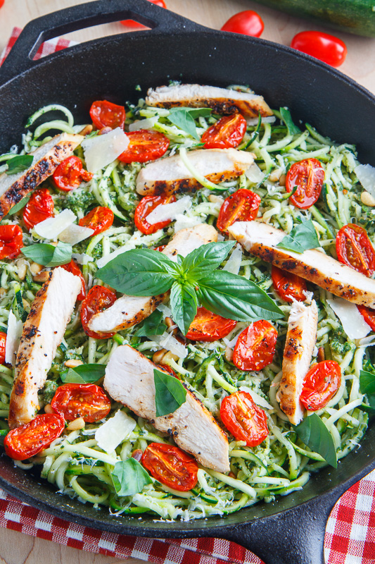 pesto-zucchini-noodles-with-roasted-tomatoes-and-grilled-chicken