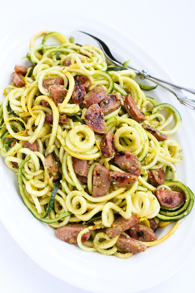 pesto-zucchini-noodles-with-sausage