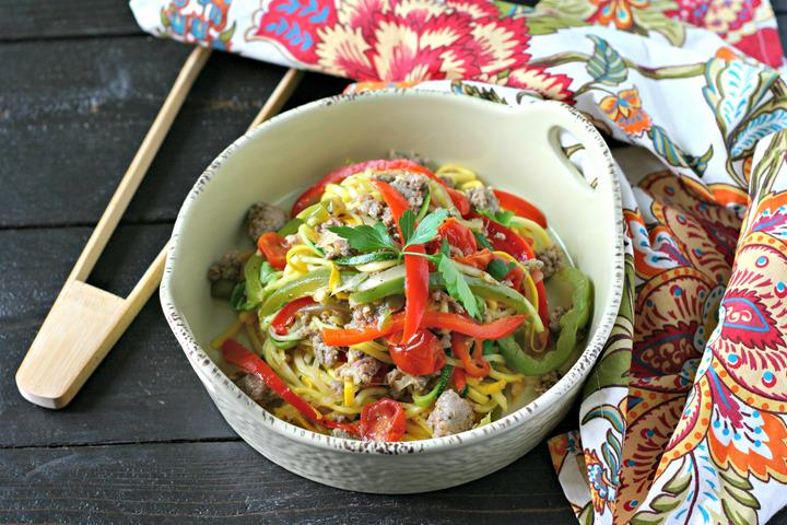 sausage-and-peppers-over-zucchini-noodles