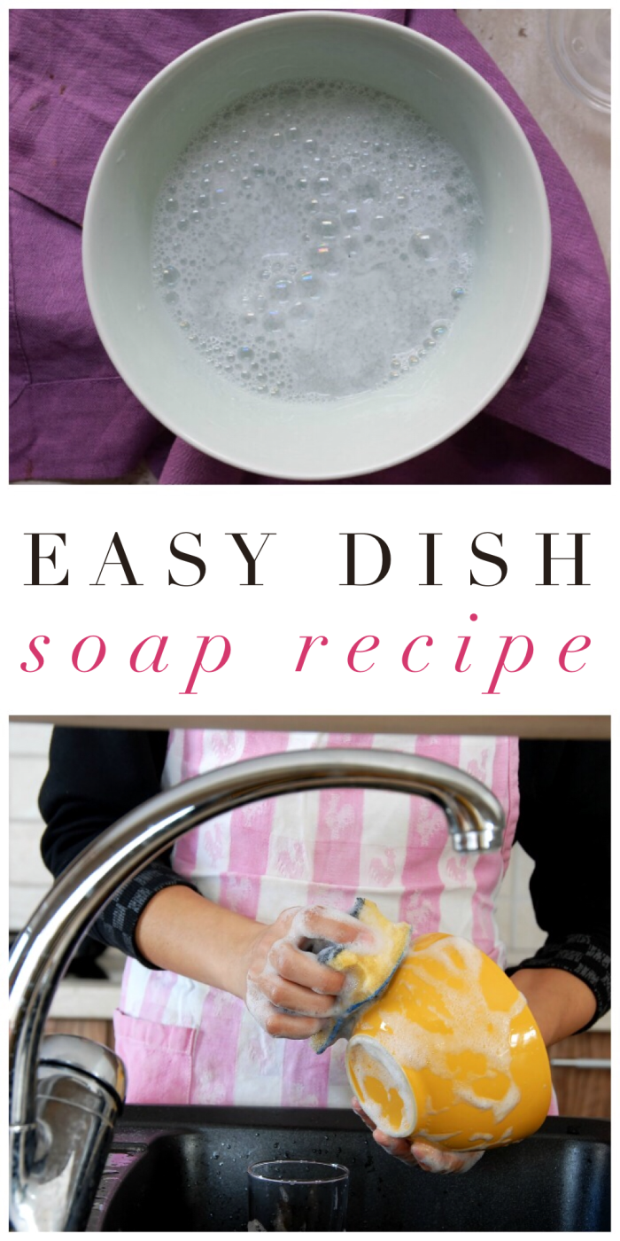 This easy dish soap is such a frugal cleaning recipe, and it's effective, too!