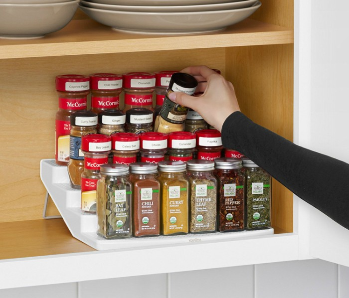 ... Your Cabinets, Save Space By Using A Tiered Spice Rack Rather Than  Keeping Them All On One Level. Itu0027s So Much Easier To Find What You Need  When Your ...
