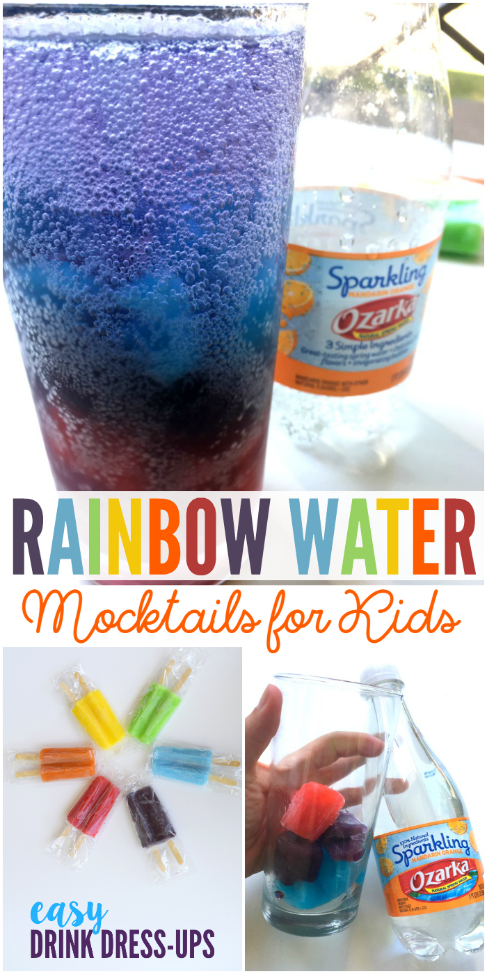 These Rainbow Water mocktails for kids are the perfect way to keep your kids sucking on their own drink and letting you have yours.