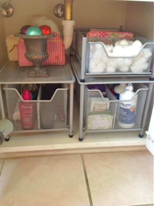 Bathroom Sink Organization Ideas Part - 30: Bins Are A Practical Choice, And You Can See That She Uses Plastic Dividers  In Them To Compartmentalize Her Hair Products And Mani/pedi Products.