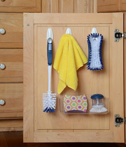 slide a file holder under the sink to hold your daily hair styling tools - Bathroom Under Sink Storage Ideas