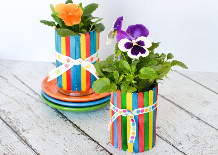 16 DIY Flower Pots to Get You Giddy About Gardening Ice Cream Stick Flower Vase Videos on ice cream sticks crafts, ice cream sticks chair, ice cream sticks lamps,