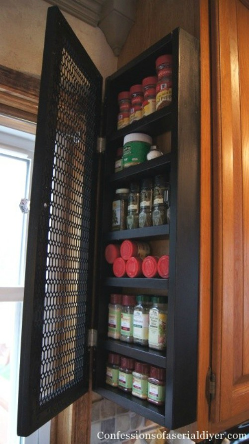 For Tiny Kitchens, This Slim Sliding Spice Rack Is Pure Genius. Just  Squeeze It Between The Fridge And Cabinets, And Pull It Out When You Need  It.