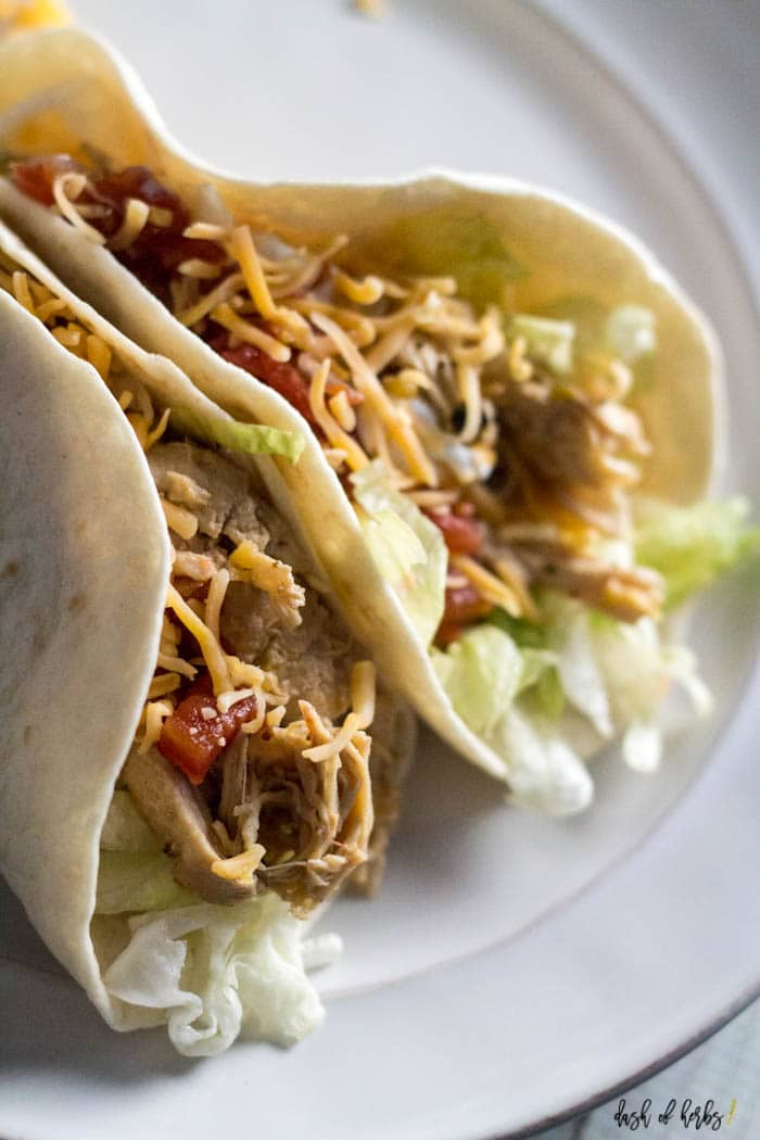 close up of chipotle chicken tacos