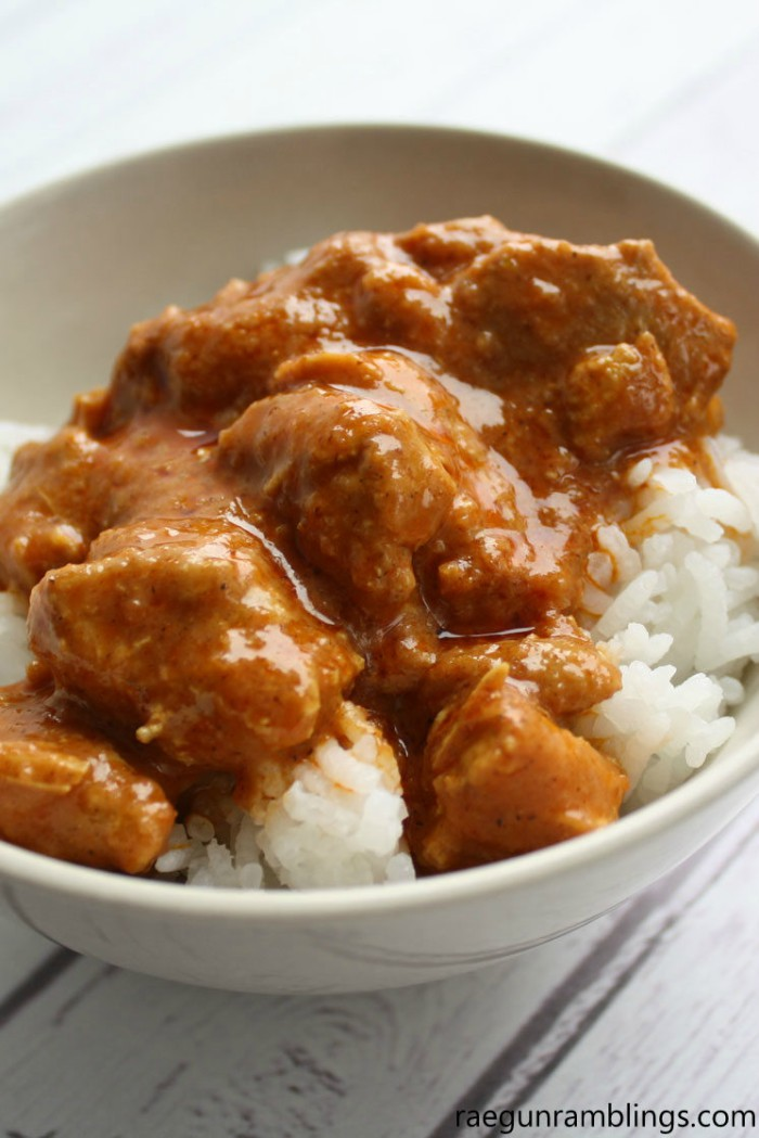 Indian Butter Pressure Cooker Chicken over rice in a bowl