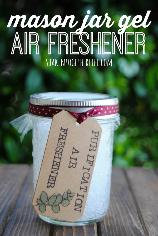 "mason jar with label that says ""purification air freshener"""