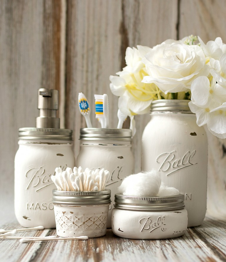 Mason Jar Bathroom Accessories by Mason Jar Crafts