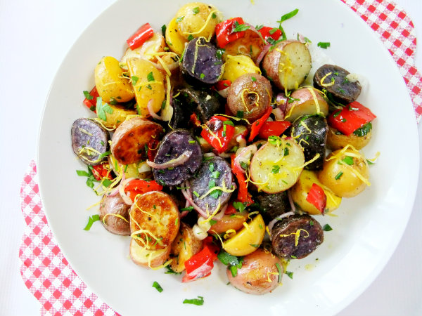 multicolored potato salad served as 4th of july food