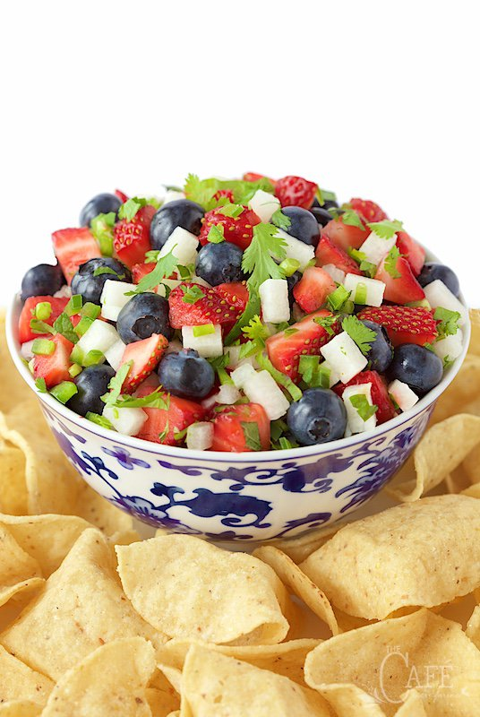 4th of july food idea with blueberry, strawberry and jicama salsa