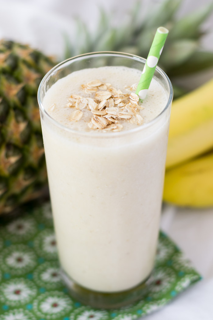 Tropical Breakfast Smoothie with Pineapple, Banana and Coconut Milk