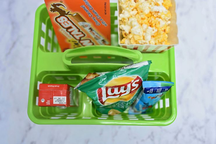 This movie night snack tray is perfect for road trip snack storage.