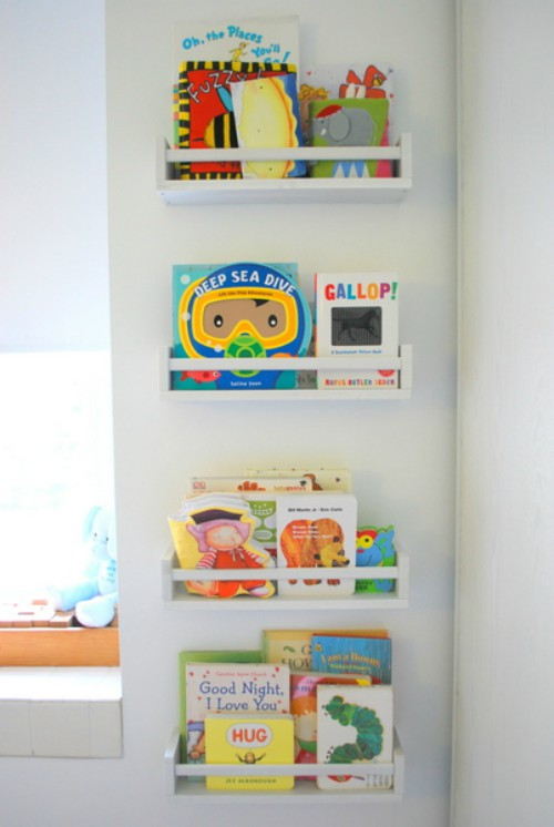 spice racks as bookshelves