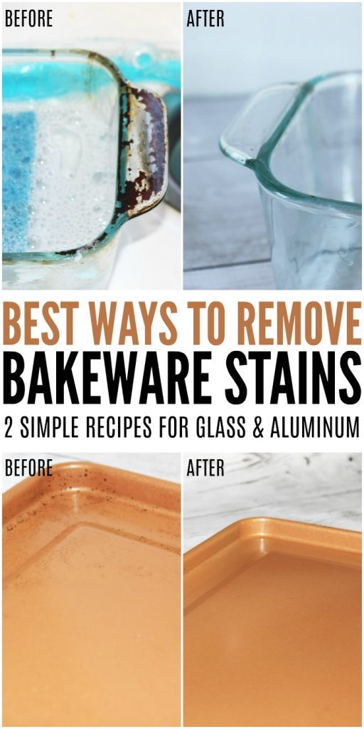 Simple homemade cleaners to remove bakeware stains.