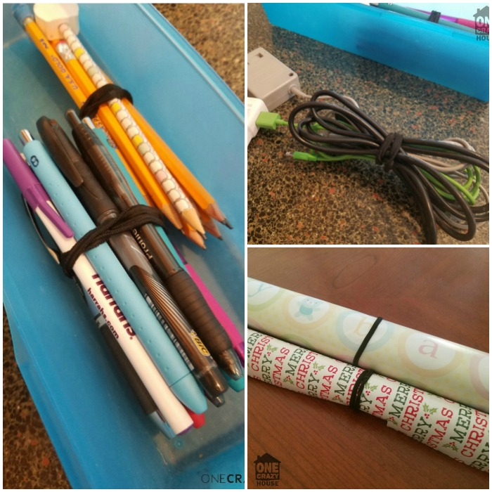 Organizing using rubber bands