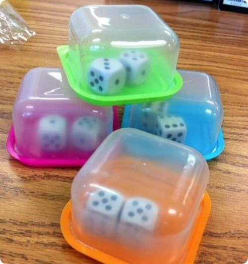 dice in containers