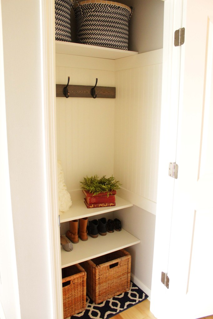 large baskets for the coat closet