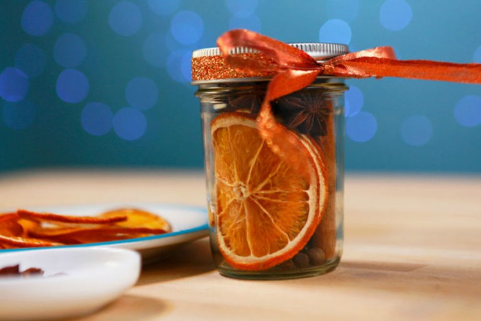 spiced citrus jar with a ribbon