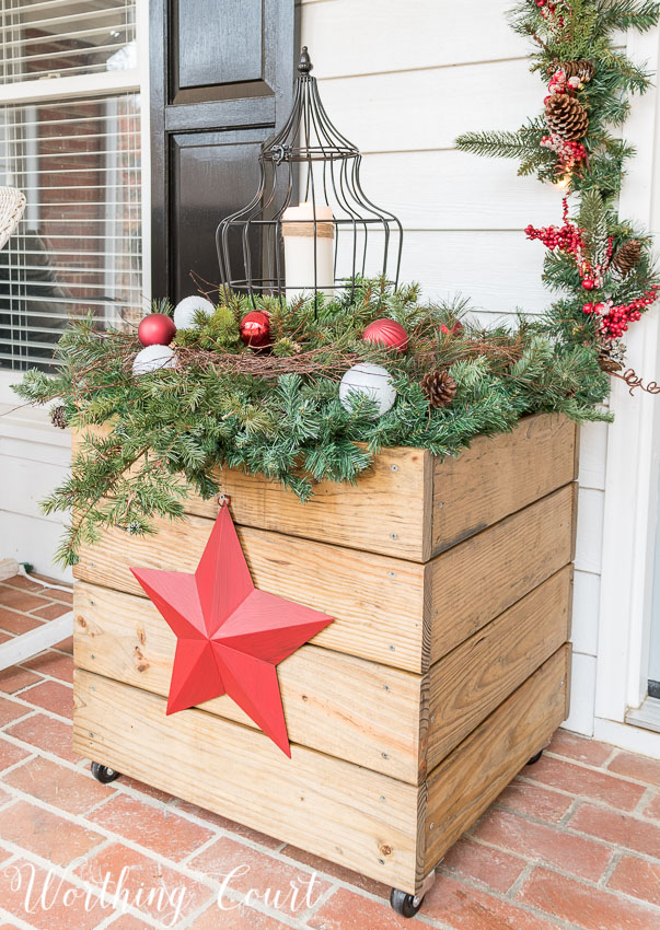 DIY Christmas planters as part of your front porch Christmas decorations