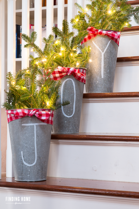 joy buckets - Joy Outdoor Christmas Decoration