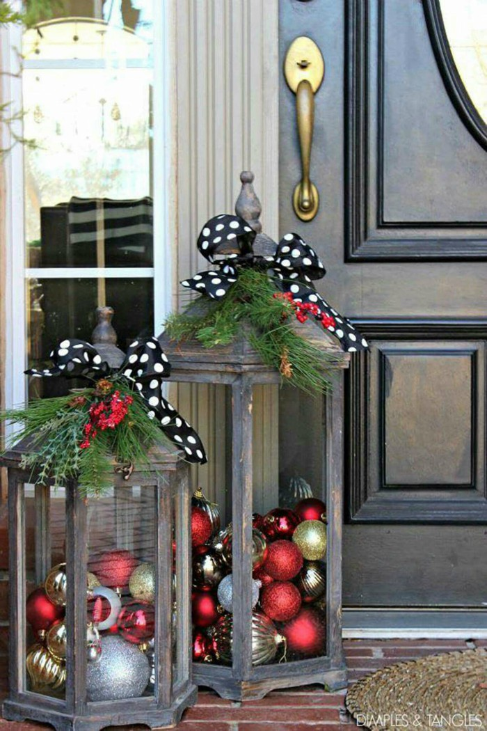 ornament filled lanterns - Christmas Front Porch