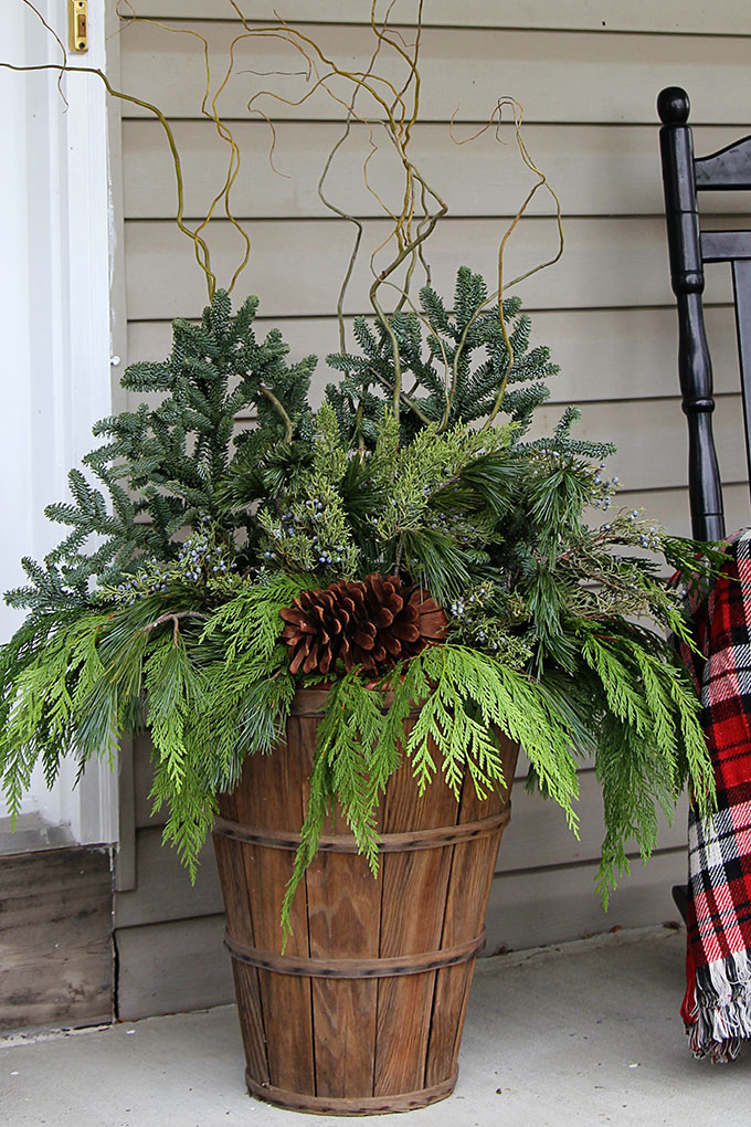 winter porch pot