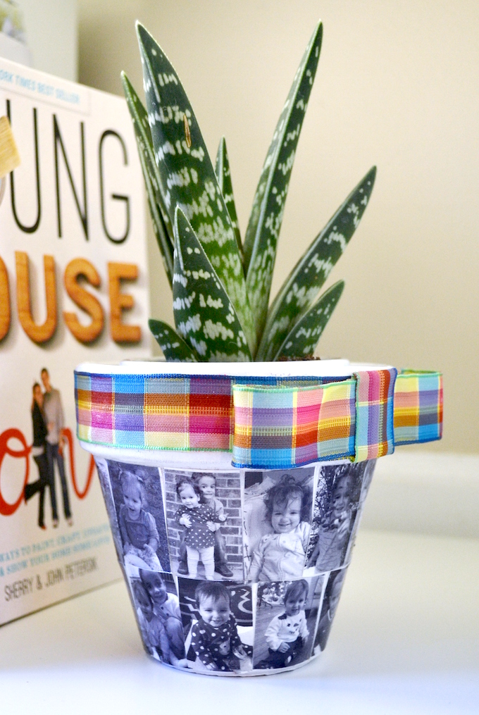 Mod Podge Rocks - Flower Pot with Photos