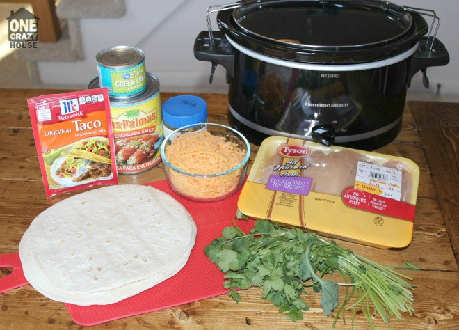 Ingredients for Crock Pot Chicken Enchiladas