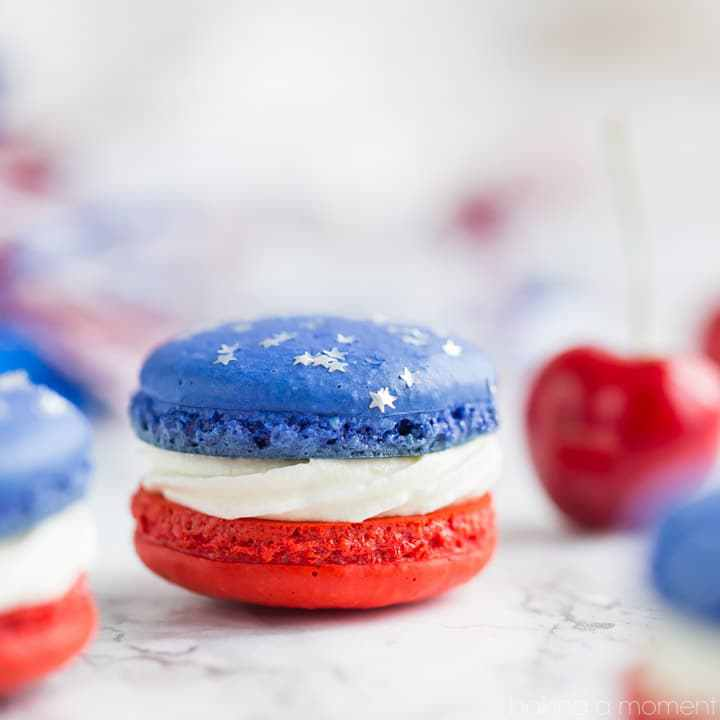 Patriotic Desserts- Red White and Blue Cherry Macaroons- Baking A Moment