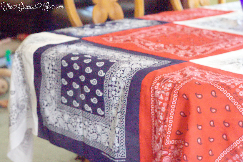 4th of July Crafts- DIY Bandana Tablecloth- Gracious Housewife