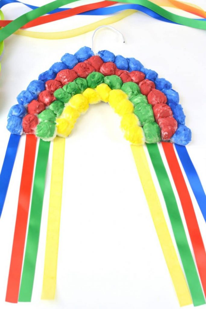 Rainbow Crafts for Kids- Hanging Cotton Rainbow-Crayons and Cravings
