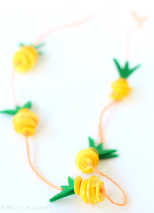 Summer Kid Crafts - Pineapple Necklace- Raising Whasians