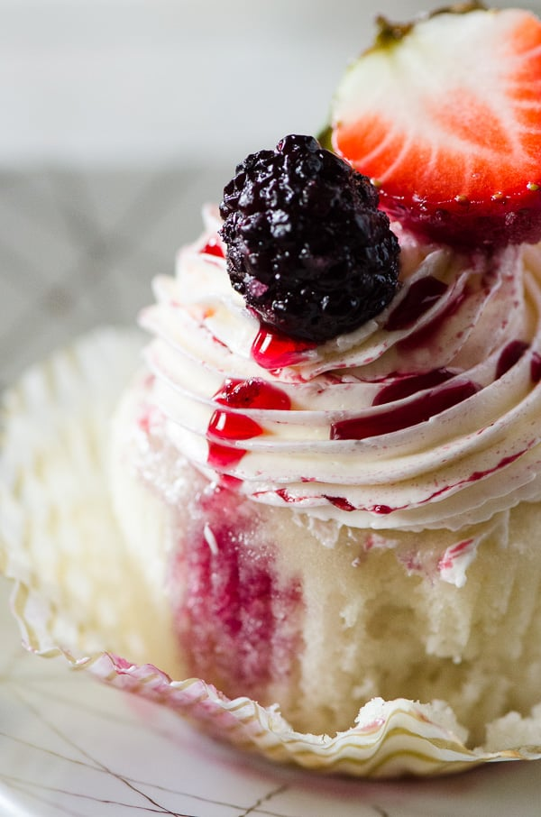 Summer Inspired Cupcakes- Vanilla Red Wine Berry Cupcakes- The Crumby Ktichen