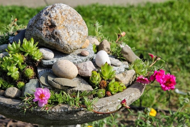 Backyard Ideas- Birdbath Rock Garden- Mom Foodie