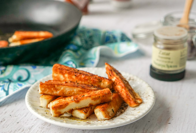 Keto Snacks- Zaatar Halloumi Cheese Fries - My Life Cookbook