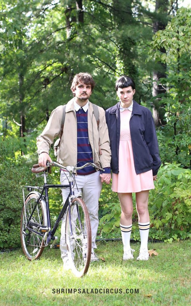 couple in DIY Stranger Things homemade Halloween costumes
