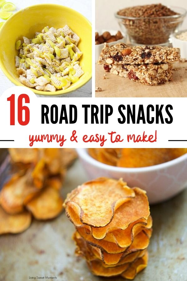 Pinterest pin image for the best road trip snacks