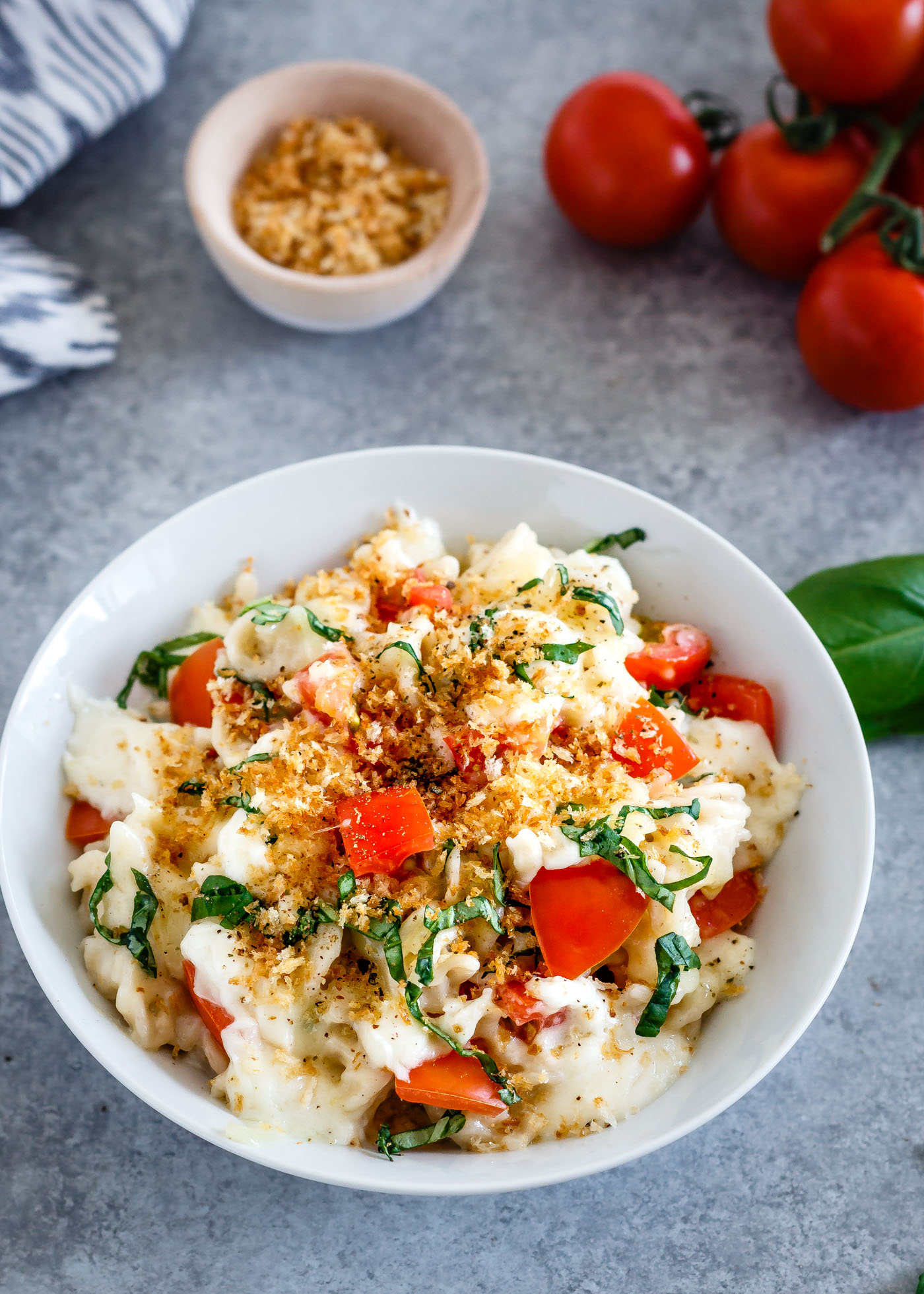 Vegetarian Main Dishes - Caprese Mac and Cheese- Le Petit Eats