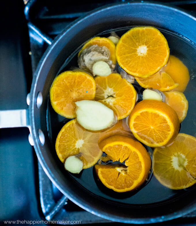 blue pan with orange and ginger slices