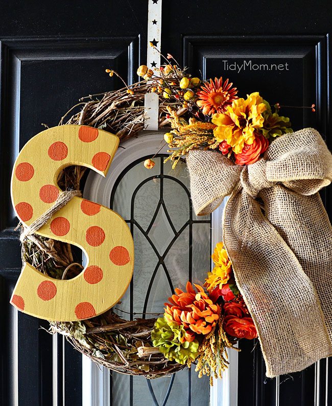 fall wreaths - Monogramed Fall Wreath | Tidy Mom