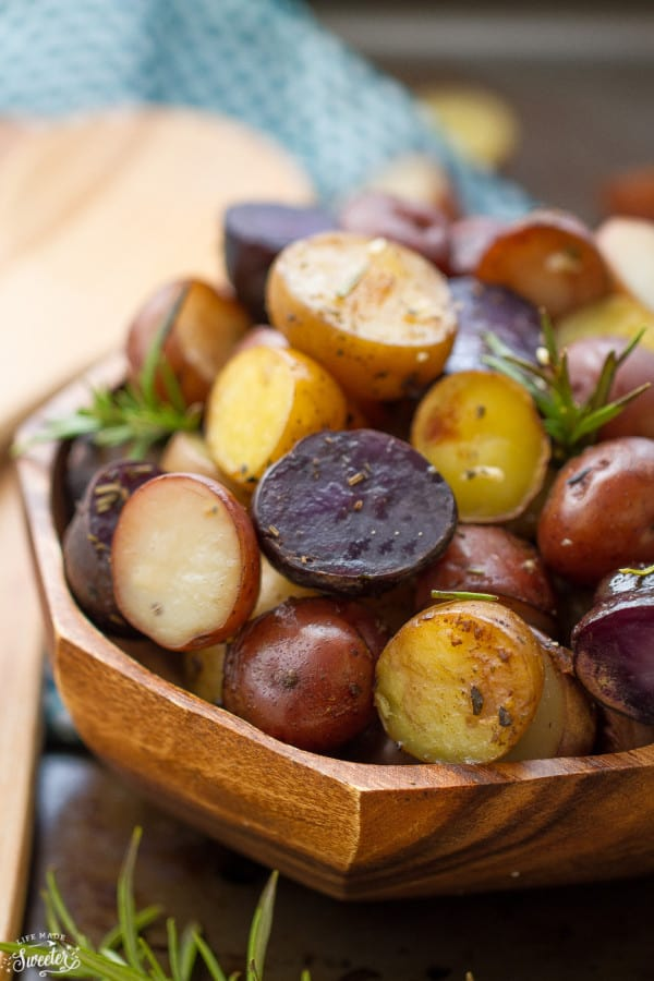 Slow Cooker Side Dishes - Garlic Rosemary Tri-Color Potatoes - Life Made Sweeter