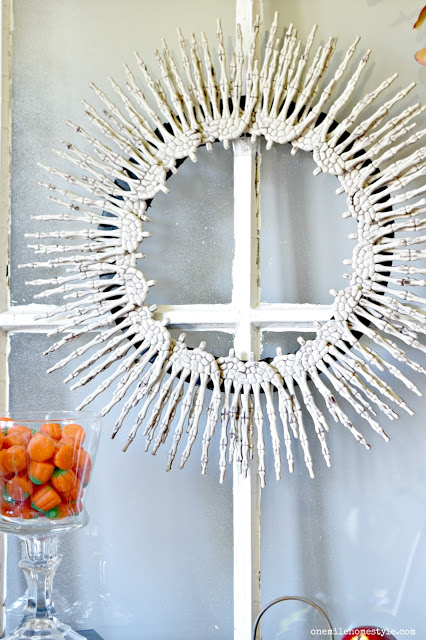 Halloween Wreaths -skeleton wreath- One Mile HOme Style